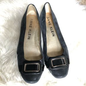 Anne Klein Buckle Navy Flats Loafers